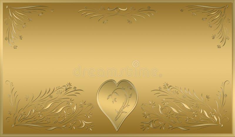 Placa del oro de la tarjeta de las tarjetas del día de San Valentín stock de ilustración