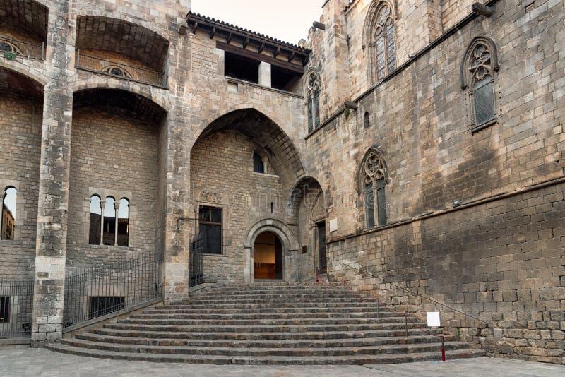 Placa del Rei, cuarto gótico, Barcelona, España fotos de archivo