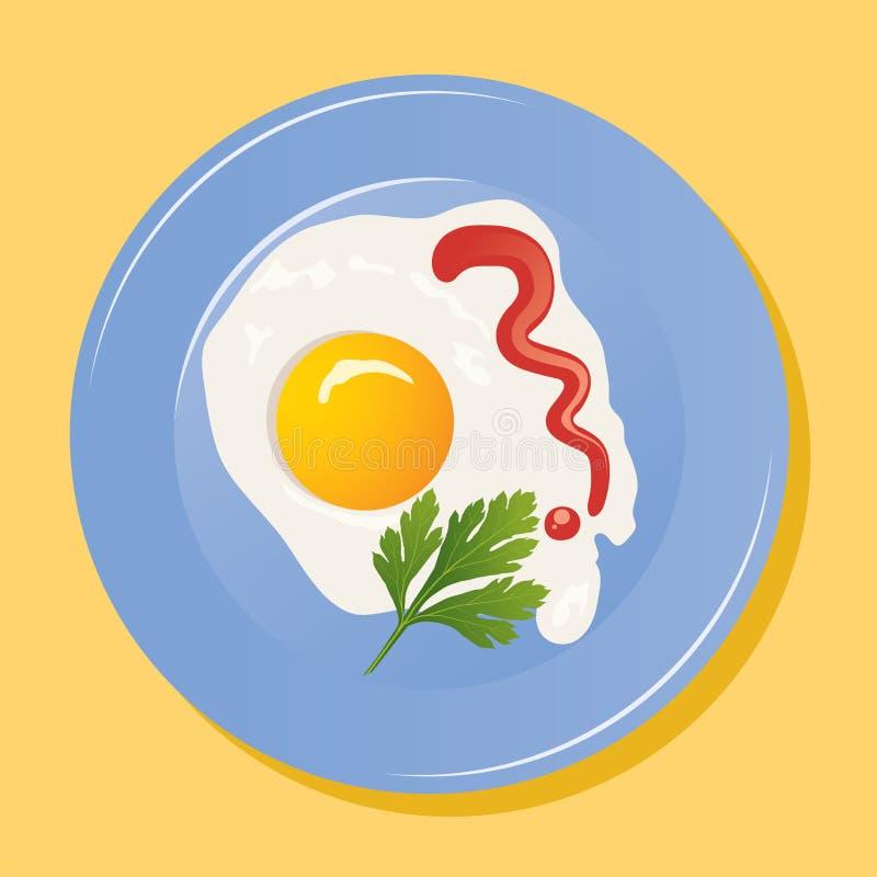 placa del vector con los huevos fritos ilustración del vector