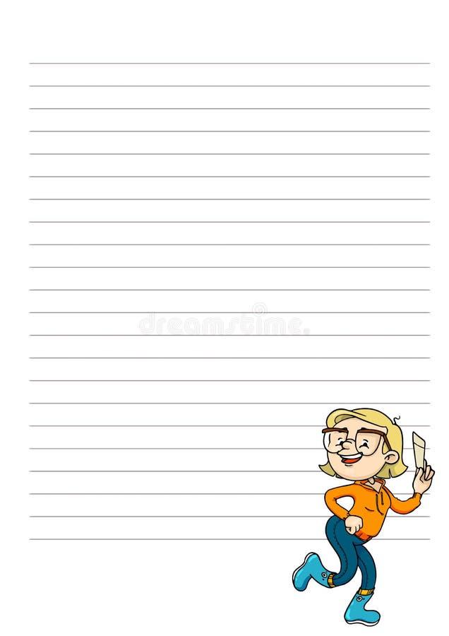 Placa diária, semanal, mensal do planejador Página para notas com personagem de banda desenhada bonito Molde imprimível do organi ilustração do vetor