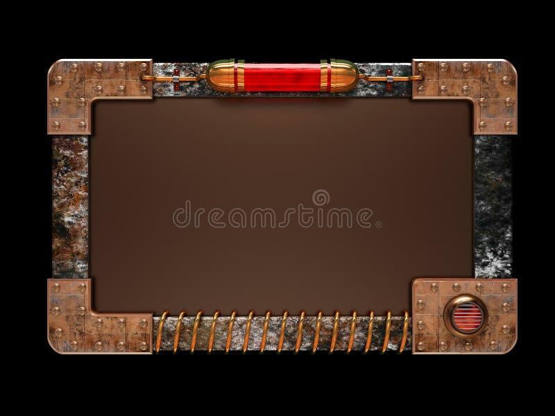 Placa do anúncio do estilo de Steampunk ilustração do vetor