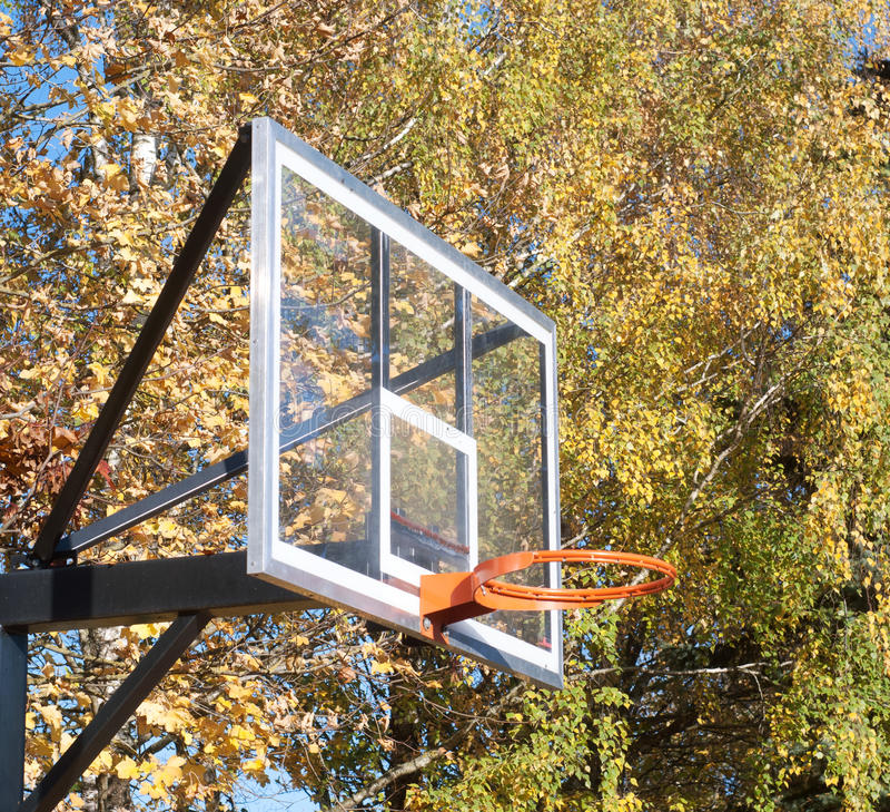 Placa do basquetebol no outono fotos de stock