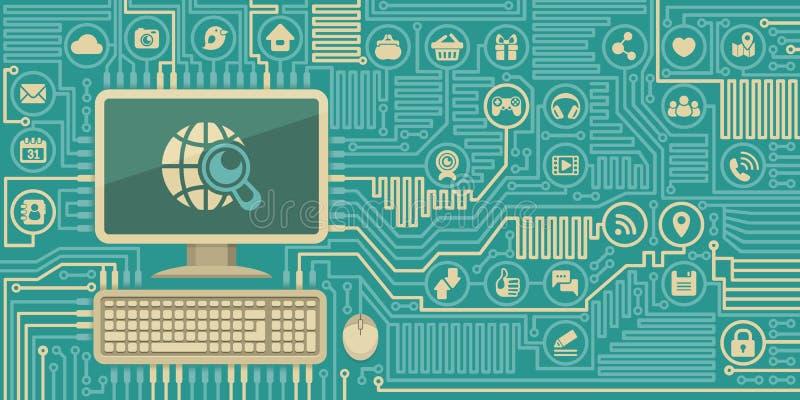 Placa do computador com um computador pessoal e uns ícones sociais dos meios ilustração do vetor
