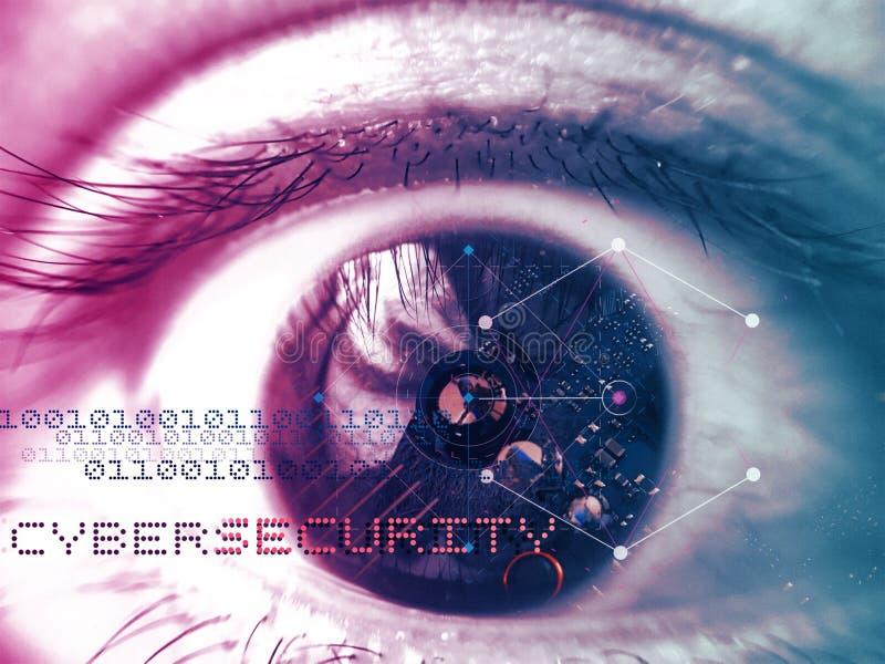 Placa do computador nos olhos para o conceito do cybersecurity fotos de stock royalty free