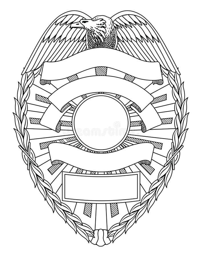 Placa do crachá da polícia ilustração royalty free