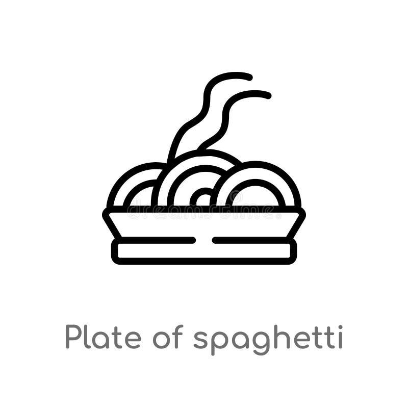 placa do esboço do ícone do vetor dos espaguetes linha simples preta isolada ilustração do elemento do conceito dos restaurantes  ilustração stock