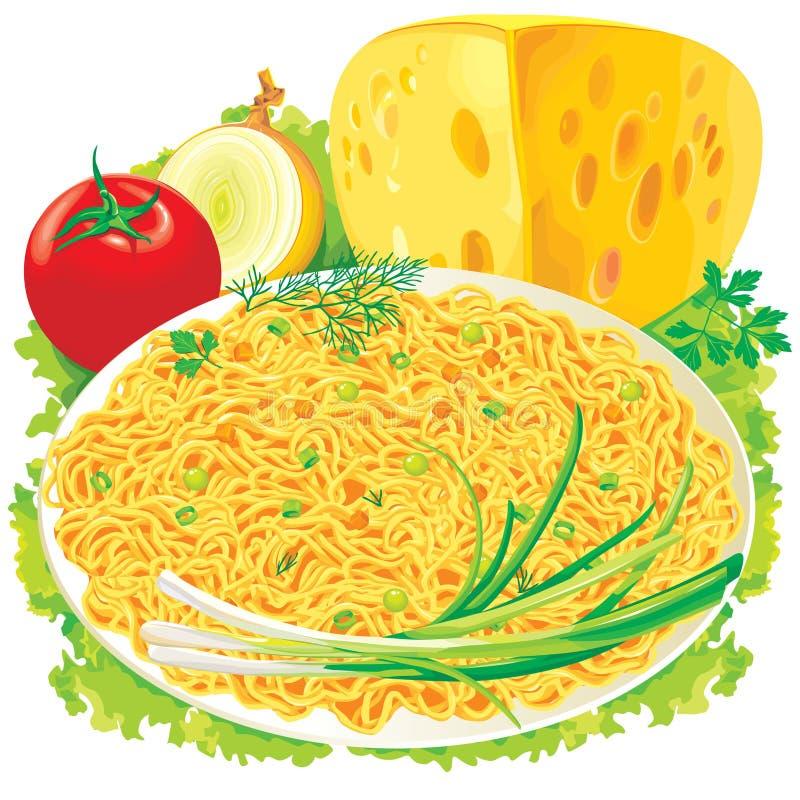 Placa do espaguete com vegetais ilustração royalty free