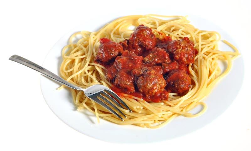 Placa do espaguete e dos meatballs foto de stock royalty free
