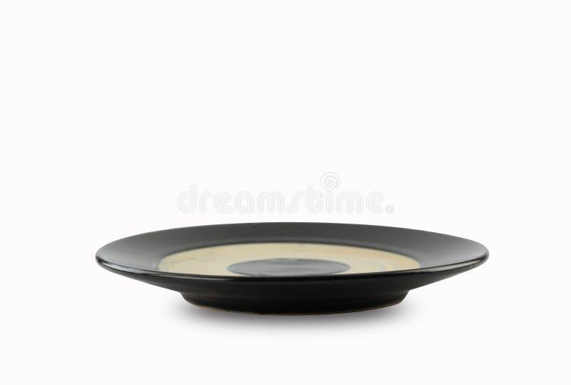 Placa do estilo japonês ou prato preto do vintage isolado no CCB branco imagem de stock