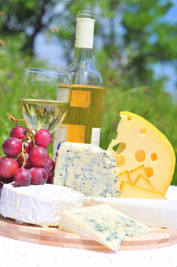 Placa do gourmet (queijo e vinho) foto de stock