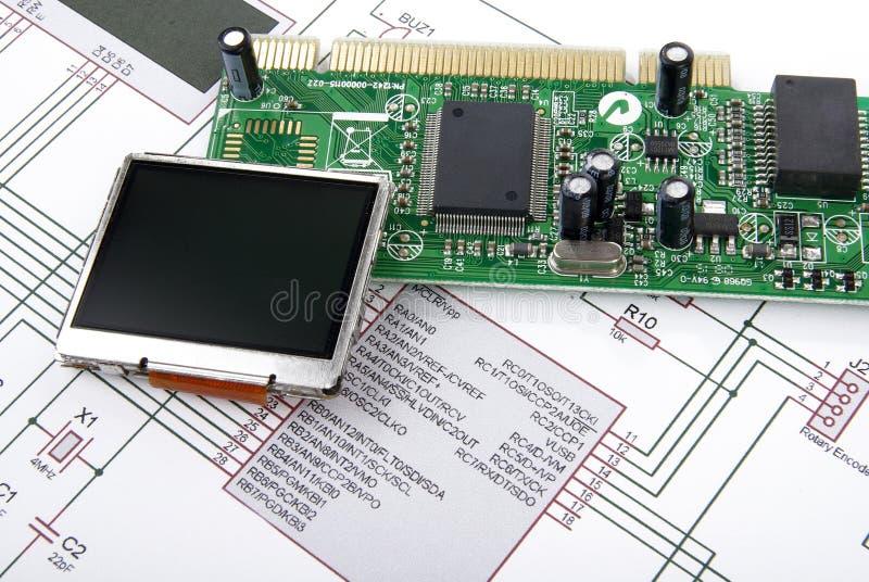 Placa do indicador e de circuito com diagrama esquemático foto de stock royalty free