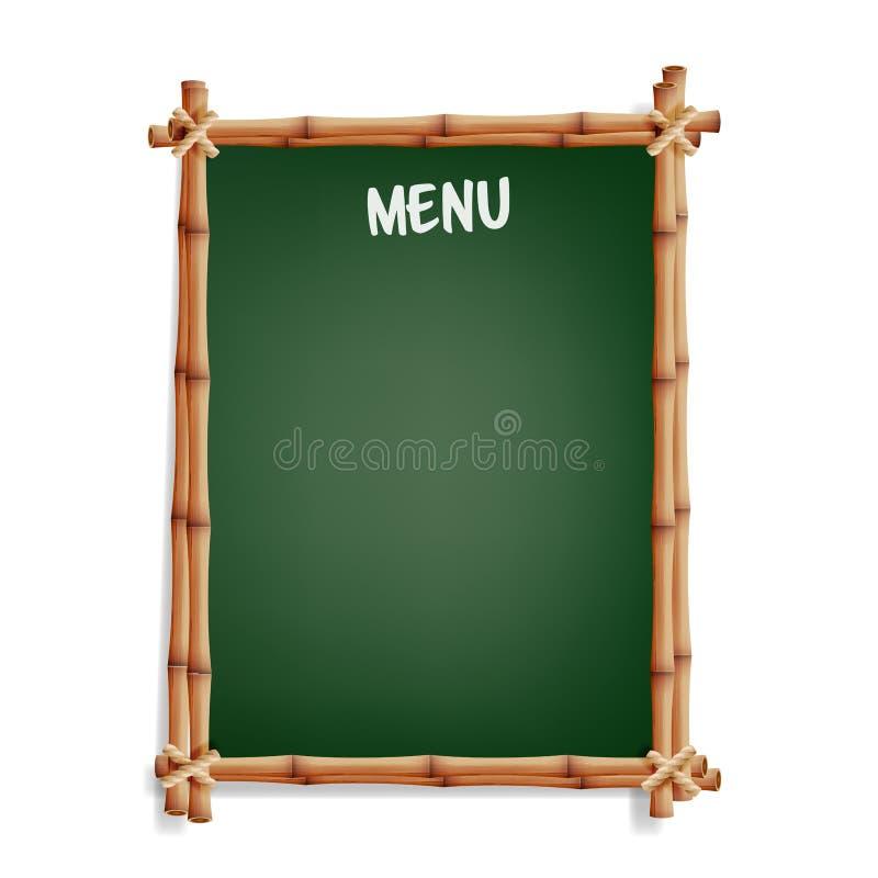 Placa do menu Placa do preto do café ou do boletim do menu do restaurante Isolado no fundo branco Quadro verde realístico com Fra ilustração royalty free
