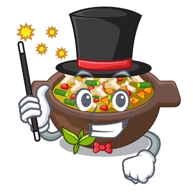 Placa do minestrone do mágico acima da tabela da mascote ilustração stock