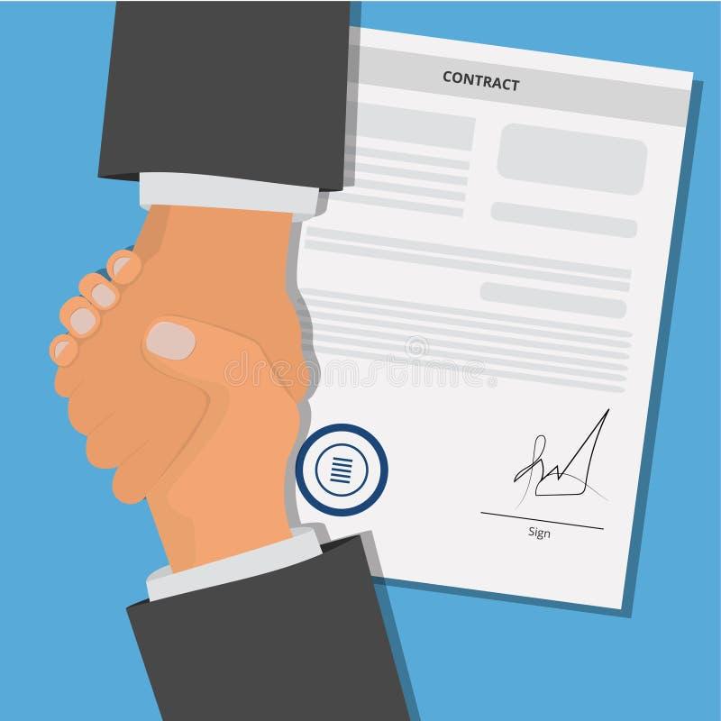 Placa do papel do acordo de contrato com selo e aperto de m?o ilustração stock