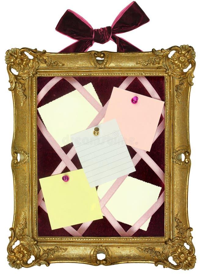 Placa do Pin no frame do ouro   foto de stock royalty free
