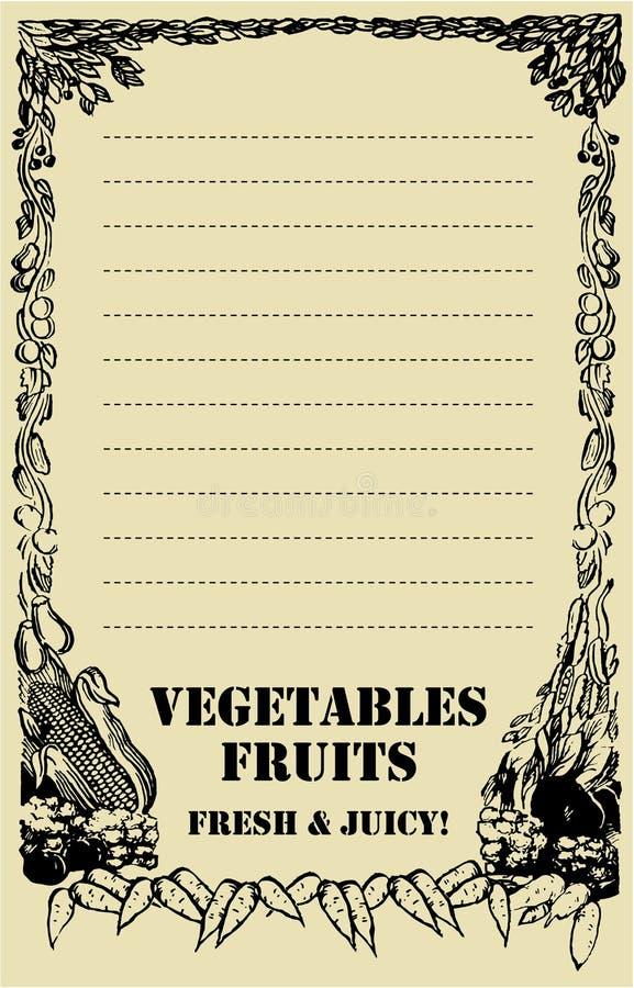 Placa do preço da fruta e verdura ilustração stock