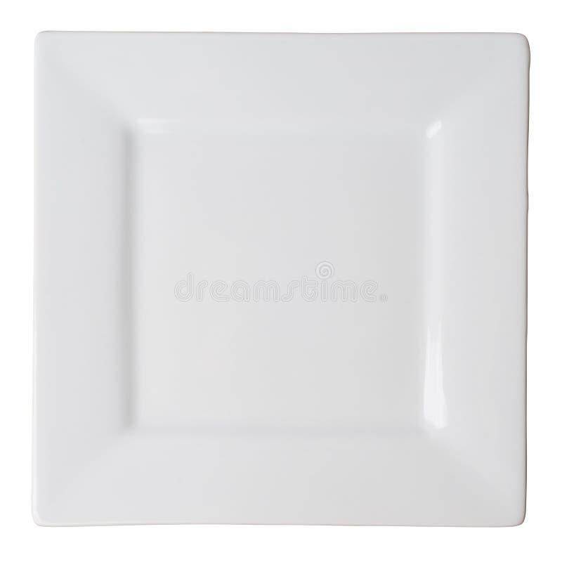 Placa do quadrado branco (isolada, com trajeto de grampeamento) imagem de stock royalty free