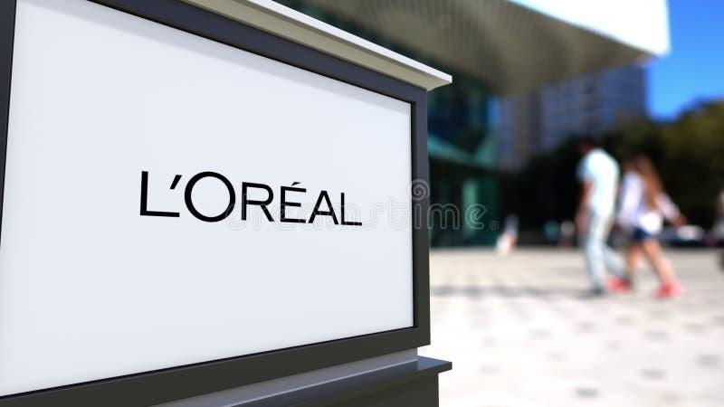 Placa do signage da rua com L logotipo de Oreal do ` Centro borrado do escritório e fundo de passeio dos povos Rendição 3D editor ilustração royalty free
