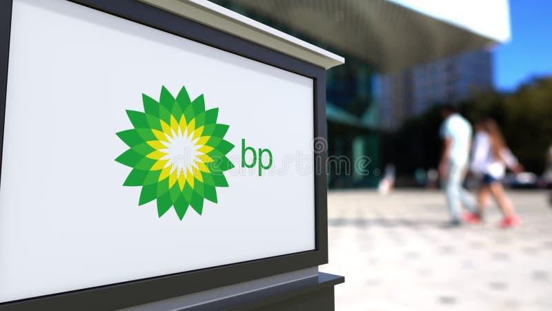 Placa do signage da rua com logotipo de BP Centro borrado do escritório e fundo de passeio dos povos Rendição 3D editorial ilustração do vetor