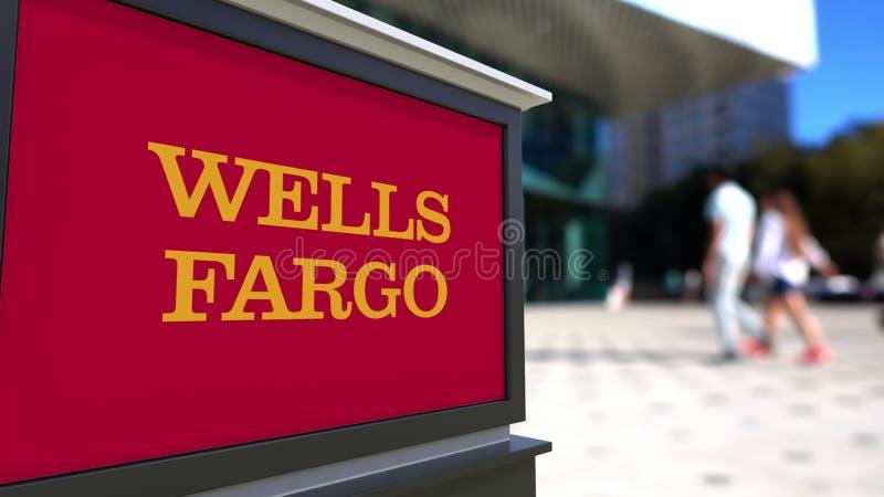 Placa do signage da rua com logotipo de Wells Fargo Centro borrado do escritório e fundo de passeio dos povos Rendição 3D editori ilustração do vetor
