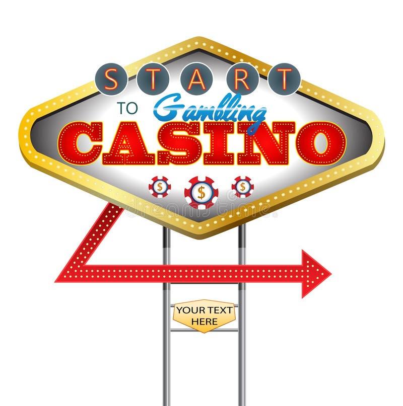 Placa do sinal da noite do casino no fundo branco isolado ilustração stock