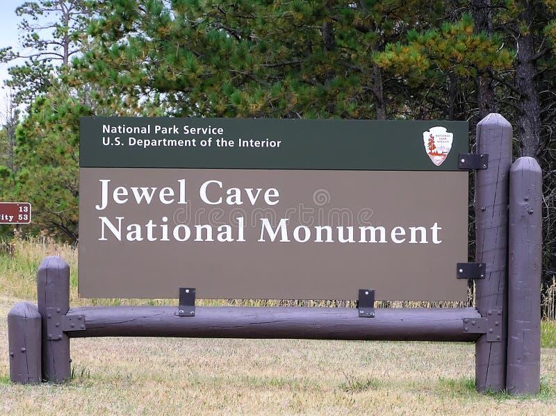 Placa do sinal do monumento nacional da caverna da joia imagens de stock royalty free
