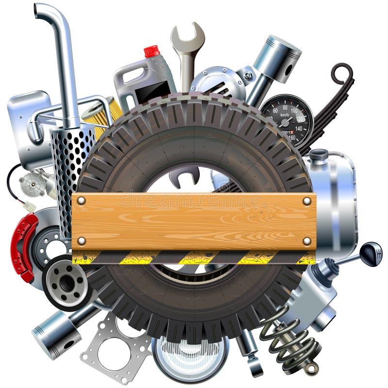 Placa do vetor com roda e sobressalentes do caminhão ilustração do vetor