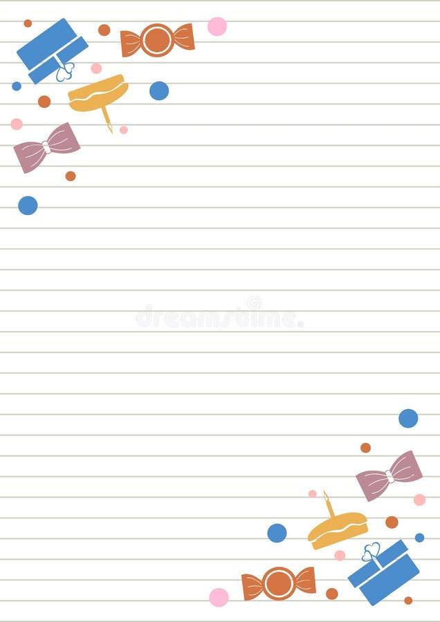 Placa do vetor para a letra ou o cartão Formulário do Livro Branco com presentes, os doces, linhas e beira coloridos Tamanho do f ilustração do vetor