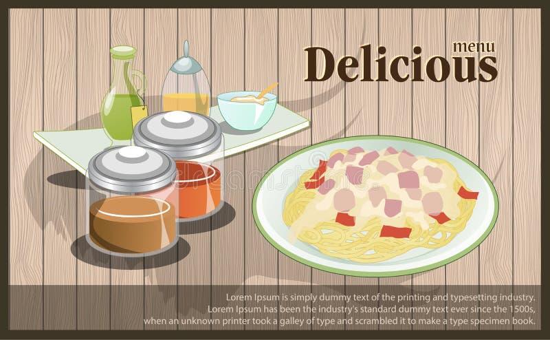 A placa dos espaguetes do menu com decora Placa do menu - ilustração do vetor foto de stock