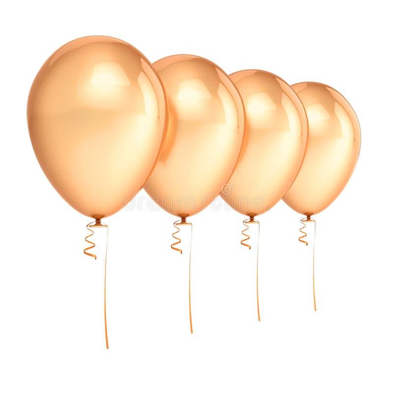 Placa dourada da decoração do aniversário do partido dos balões 4 ilustração stock