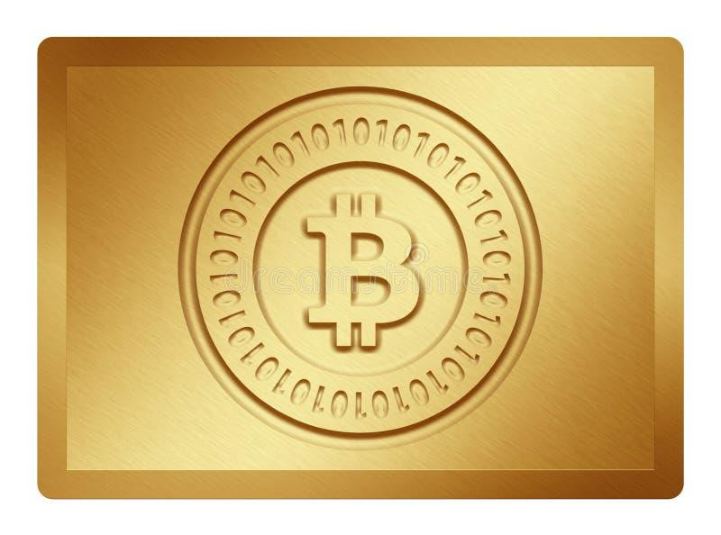 Placa dourada de Bitcoin imagem de stock