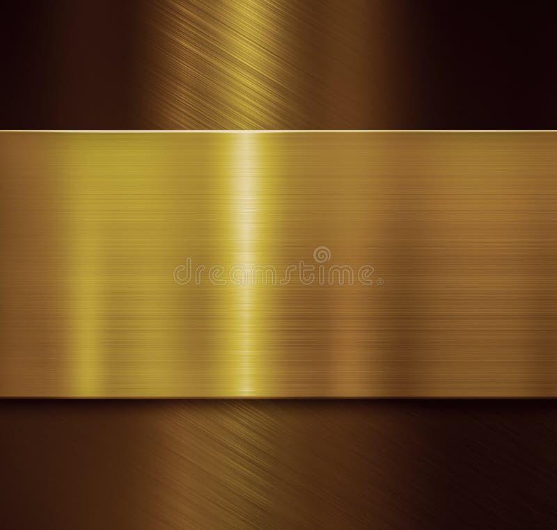 A placa dourada sobre o preto escovou a ilustração metálica do fundo 3d fotos de stock