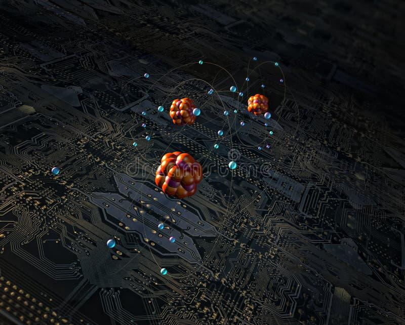Placa e átomos de circuito ilustração royalty free