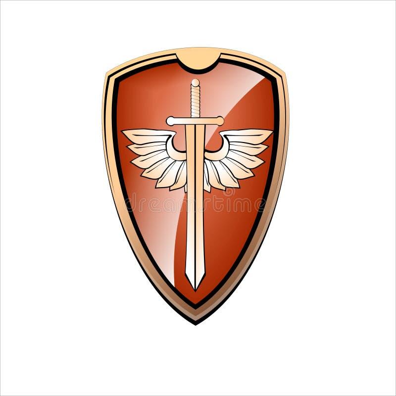 Placa e espada do ouro ilustração do vetor