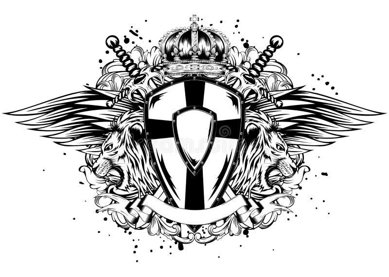 Placa e espadas do leão ilustração royalty free
