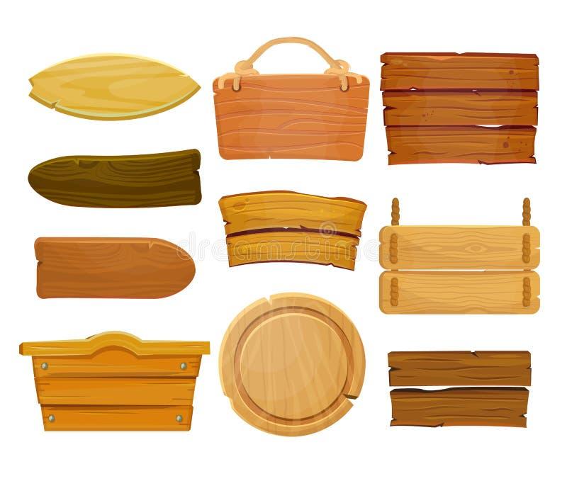 Placa e fitas de madeira marrons dos desenhos animados Placa de madeira ocidental velha, isolado ajustado do vetor no fundo branc ilustração stock