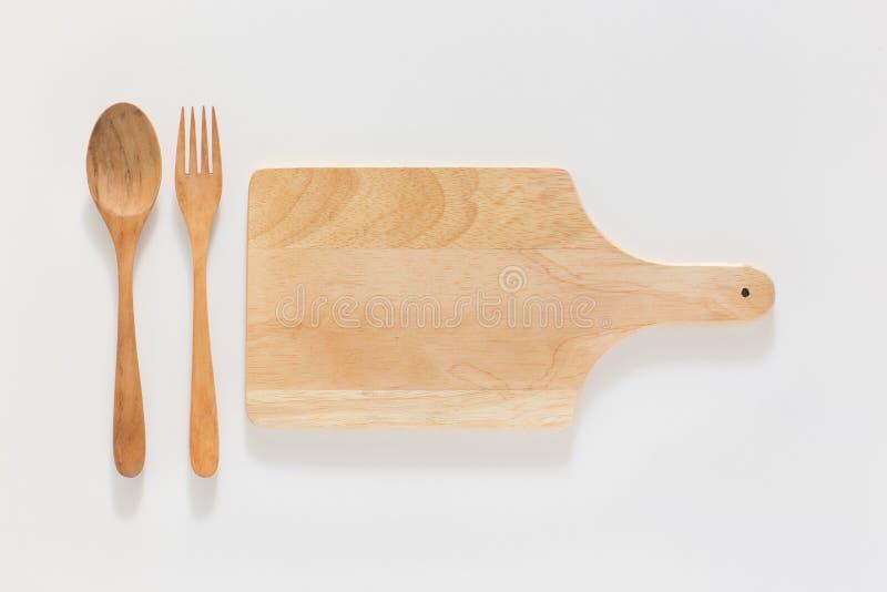 Placa e forquilha de madeira de corte imagens de stock