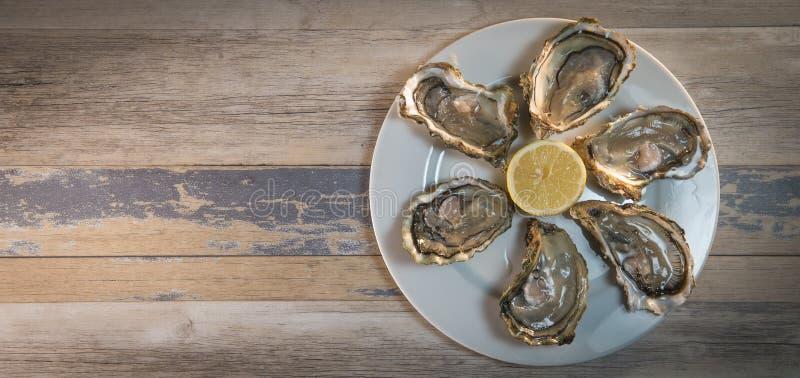 Placa e limão frescos do branco de ostras na mesa de madeira fotos de stock