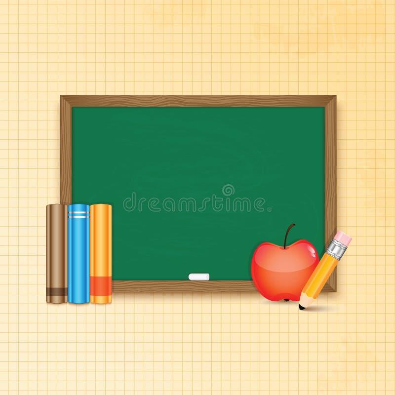 Placa e livros de escola ilustração stock