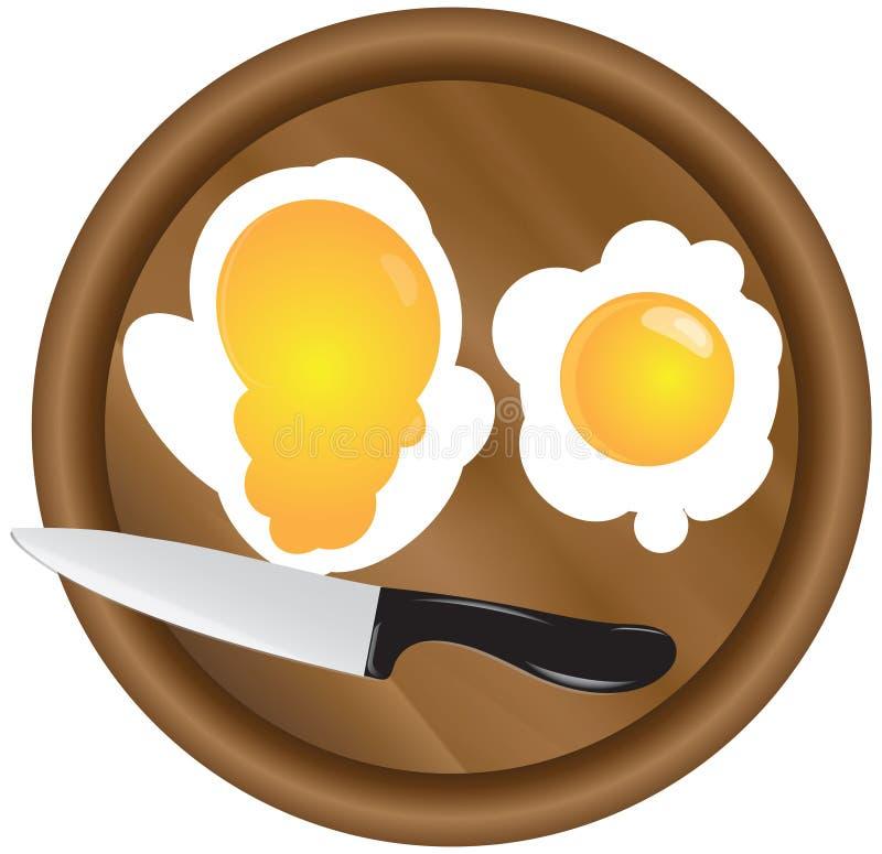 Placa e ovos de madeira da cozinha ilustração do vetor