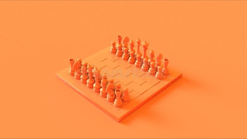 Placa e partes alaranjadas de xadrez do pêssego ilustração do vetor