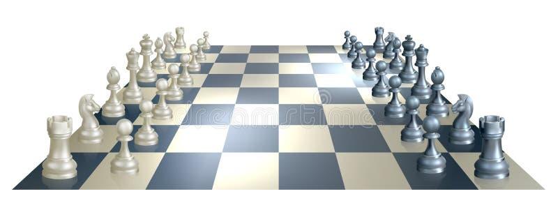 Placa e partes de xadrez ilustração royalty free