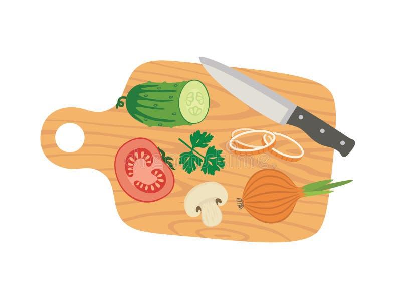 Placa e vegetais de corte que cozinham o cartaz do cartão com tomate, pepino, cebola, cogumelos, salsa e faca ilustração stock