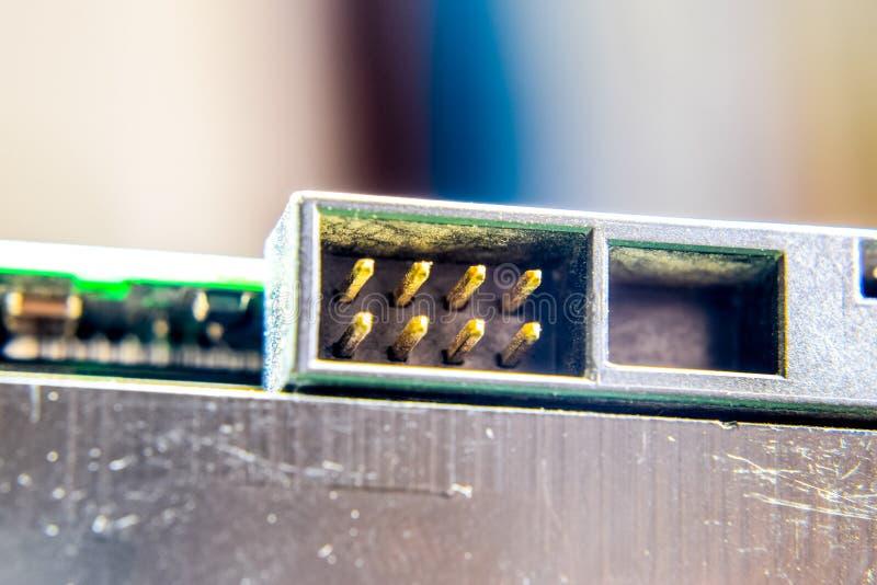 Placa eletrônica com componentes bondes Eletrônica do material informático fotografia de stock royalty free