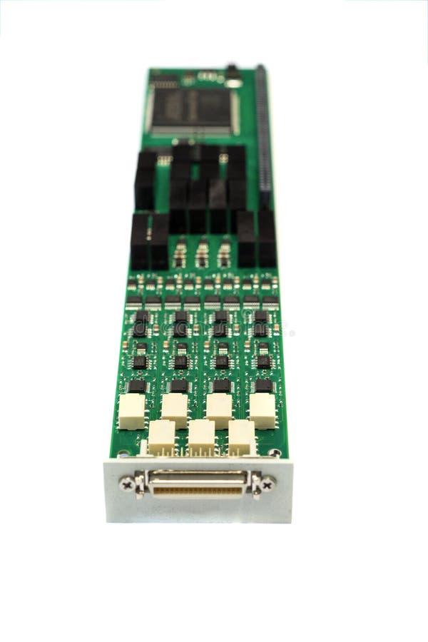 Placa eletrônica com componentes eletrônicos instalados fotografia de stock royalty free