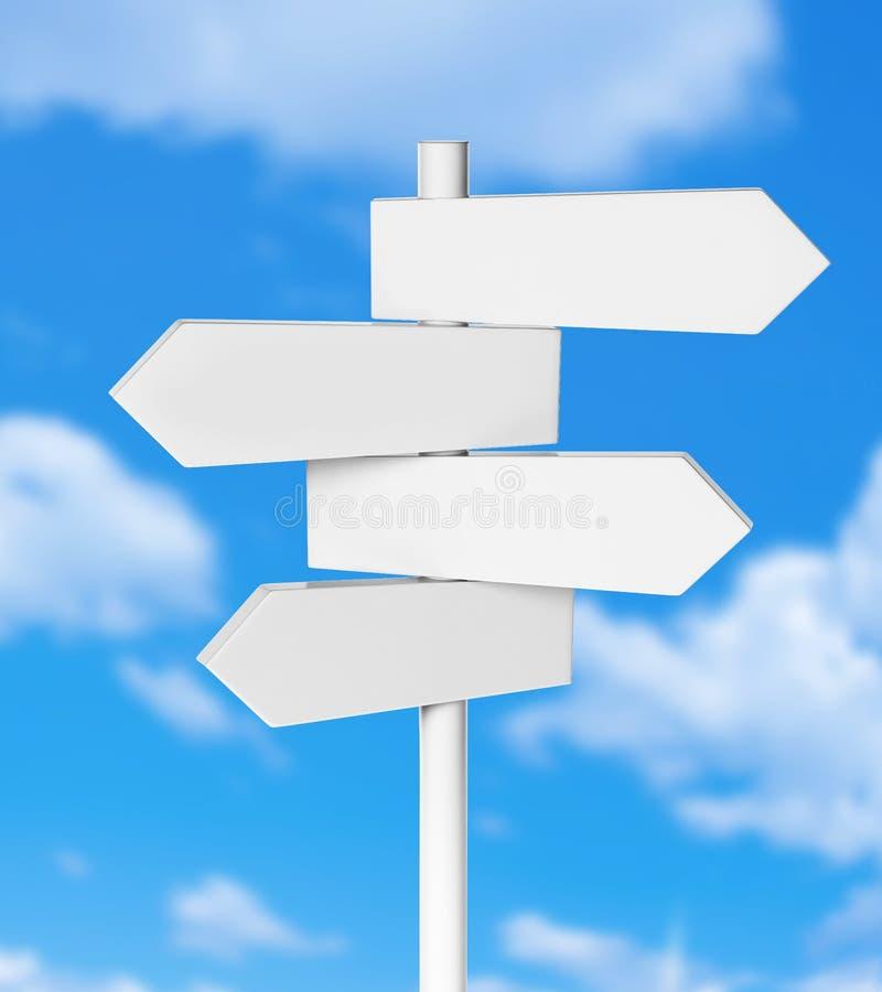 Placa em dois sentidos do signage da seta direcional com céu ilustração royalty free