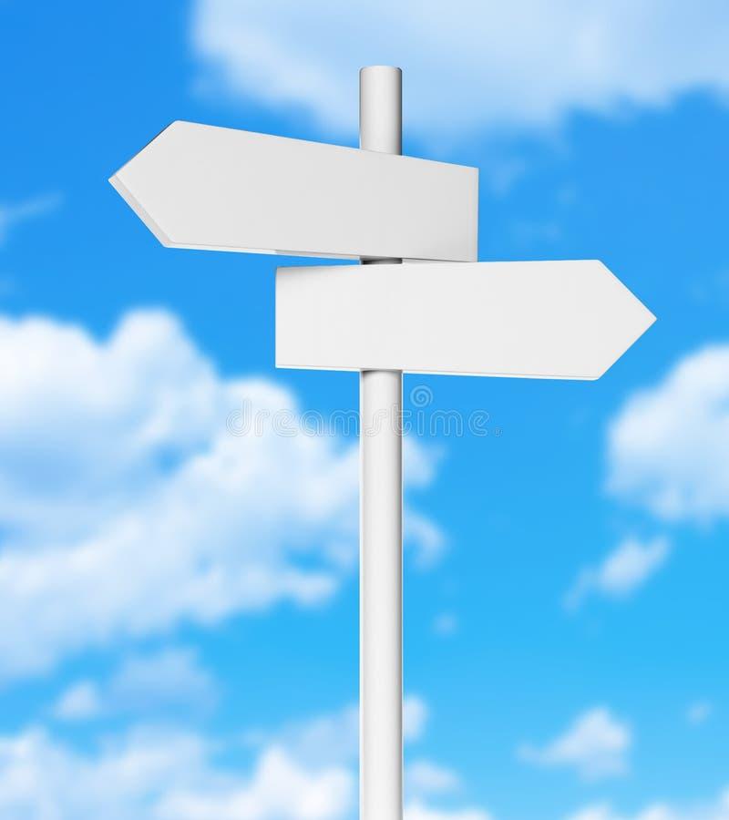 Placa em dois sentidos do signage da seta direcional com céu ilustração do vetor