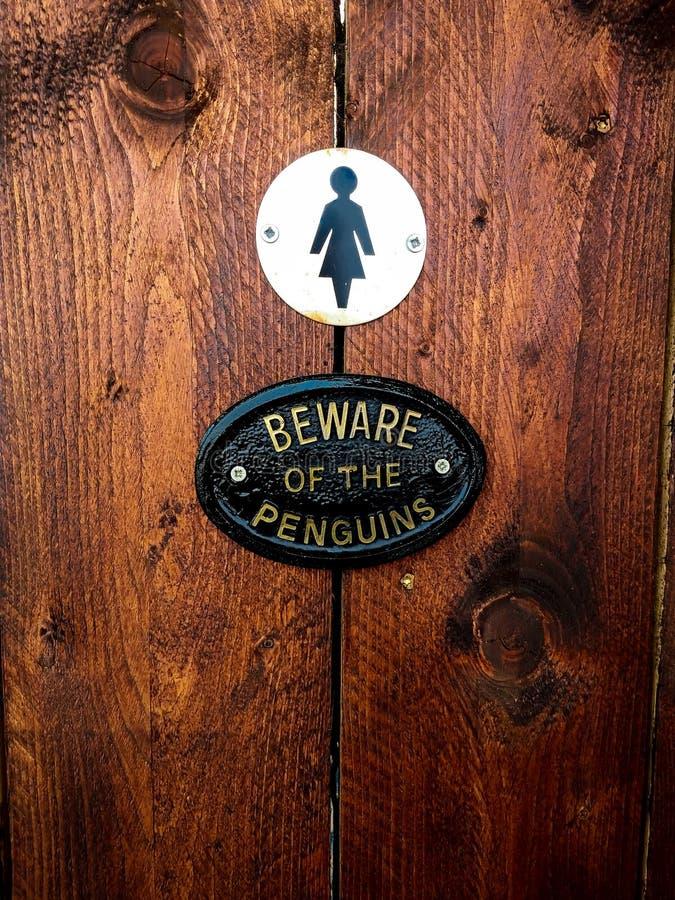 Placa en pingüinos femeninos del cuarto de baño foto de archivo