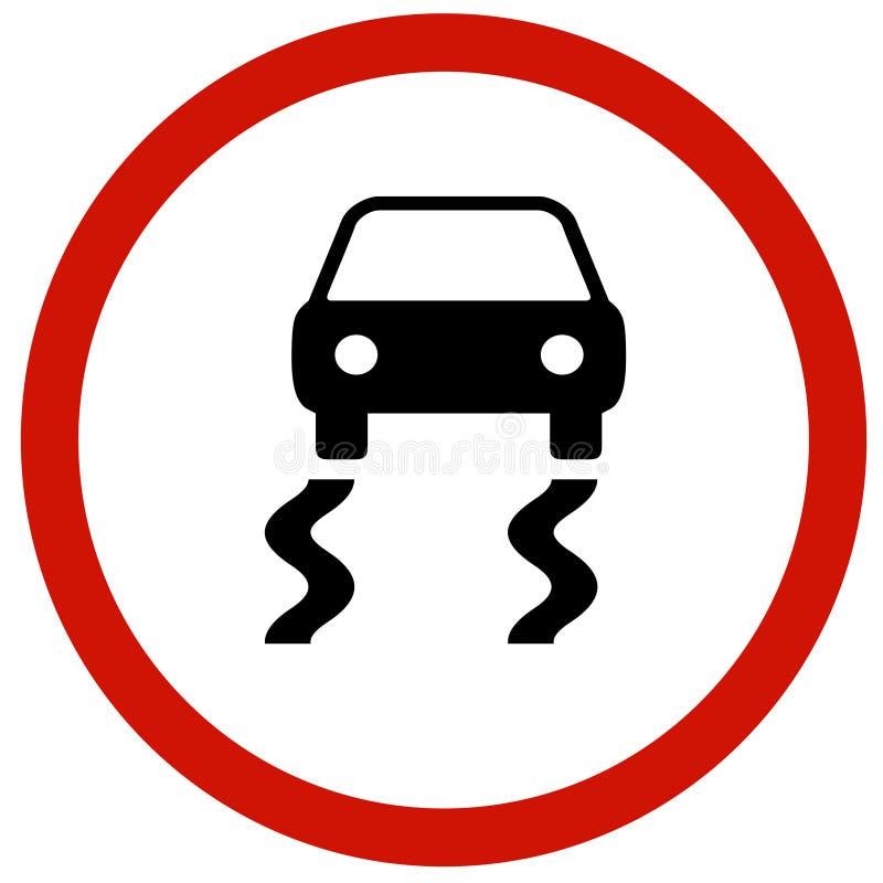Placa escorregadiço do sinal de estrada ilustração stock
