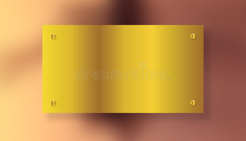 Placa escovada brilhante do amarelo do ouro do metal com parafusos - 21 DE JULHO DE 2017 ilustração do vetor